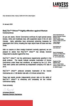 Lanxess certifica efficacia di Rely+On Virkon contro Coronavirus