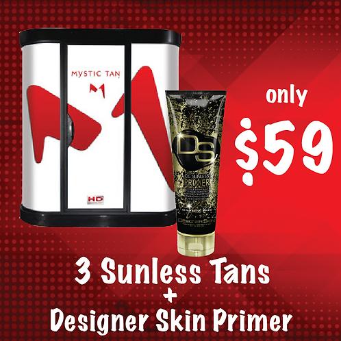 3 Sunless Tans + Designer Skin Primer