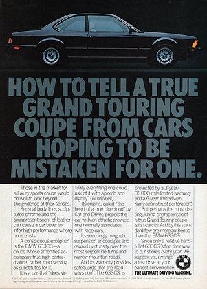 BMW E24 633csi vintage magazine advertisement