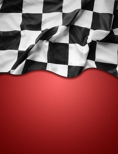 Checkered black and white flag on red ba