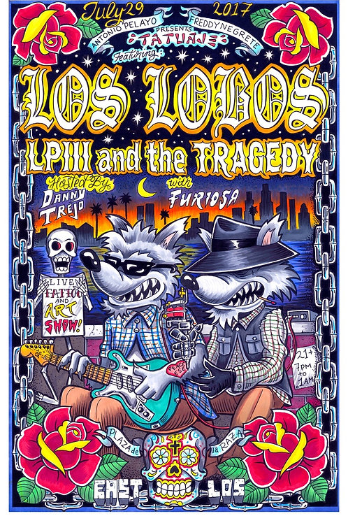 "LOS LOBOS Signed and numbered ""TATUAJE"" POSTER COLOR"