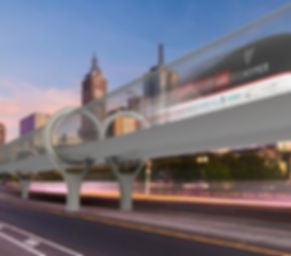 Hyperloop train in a clear tube running down the streets of Melbourne