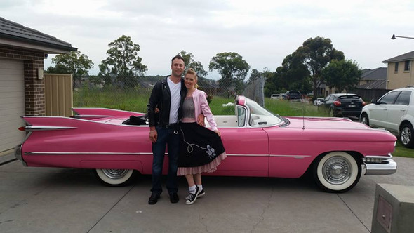 Drive in for his birthday in our pink cadillac!