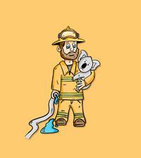 Troy Designs Firefighter Koala Illustration Design
