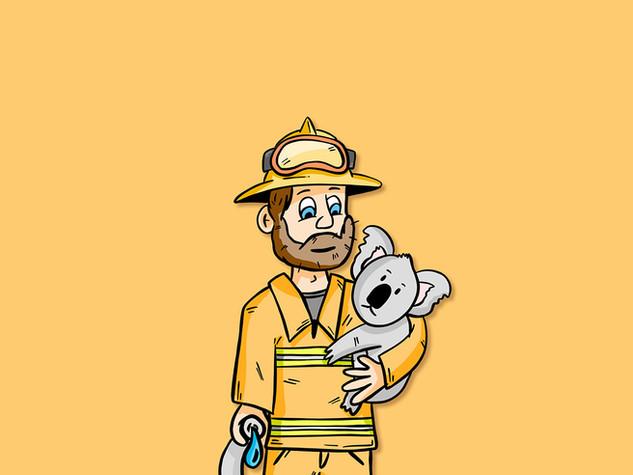Fire Fighter Koala - Donation Illustration Work