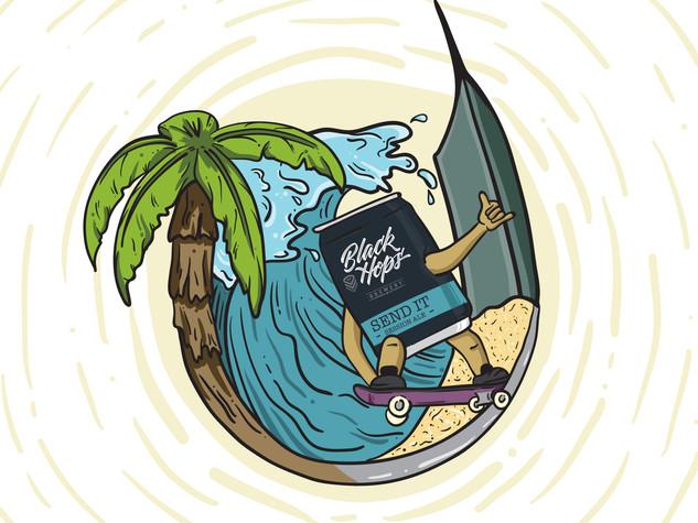 Black Hops Brewery - Send It Beer Illustration
