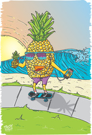 Pineapple Surf Illustration