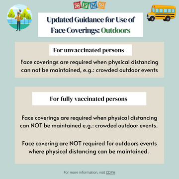 Updated mask guidance regarding outdoor
