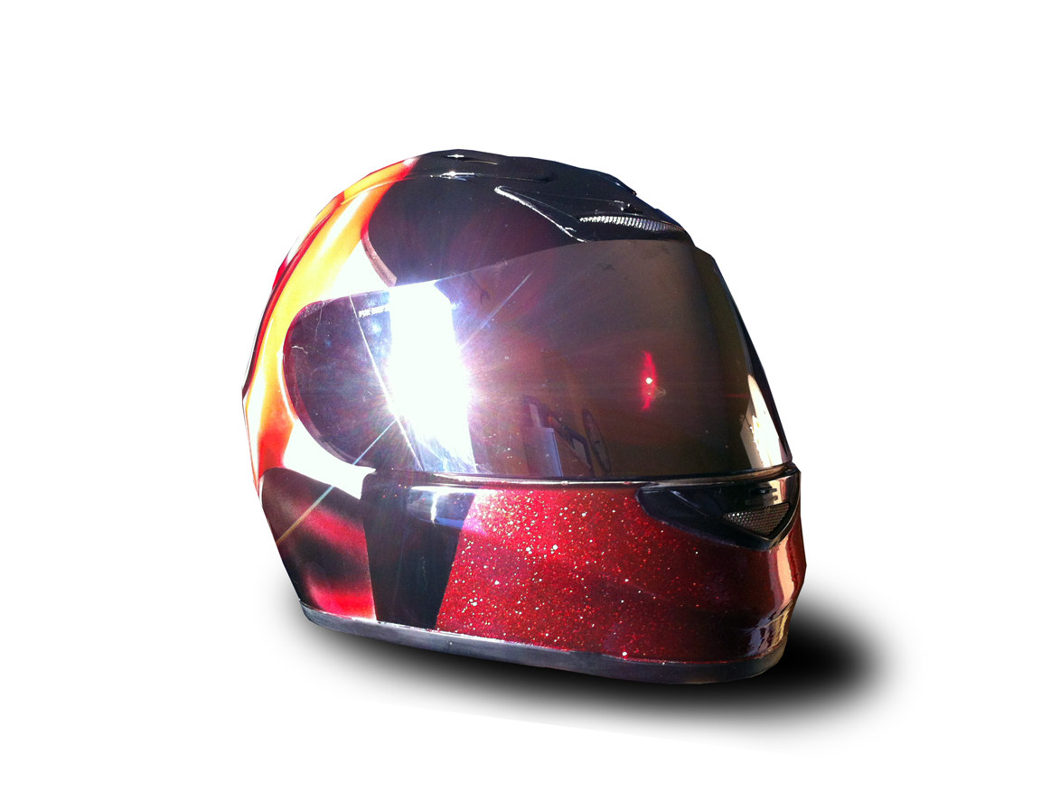 Casque moto métal flake face