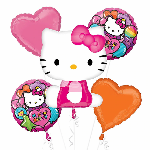 Rainbow Hello Kitty 5 Pc Balloon Bouquet