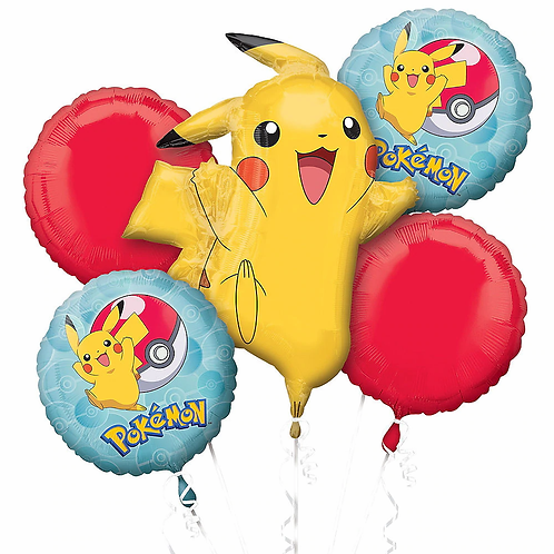 Pokeball and Pikachu 5 Pc Balloon Bouquet
