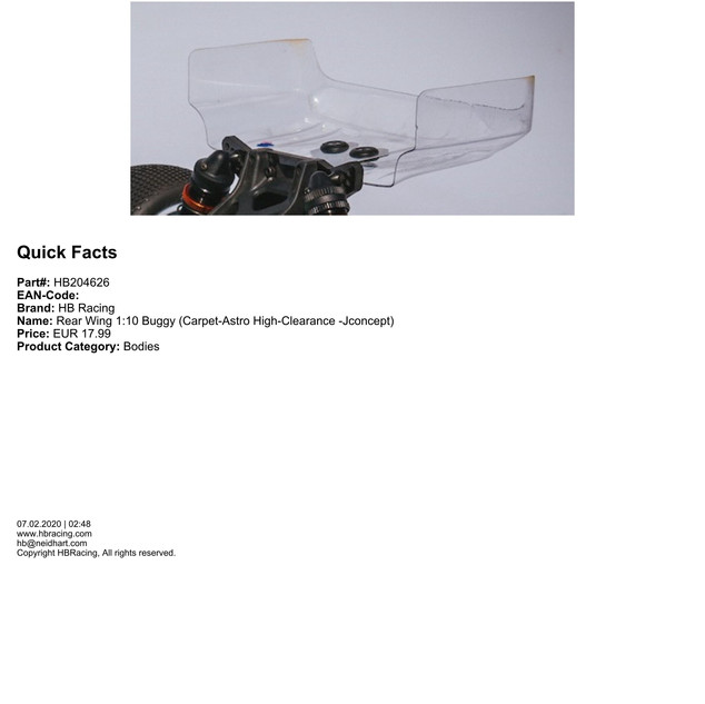 HB204626 - Rear Wing 1:10 Buggy (Carpet-Astro High-Clearance -Jconcept)