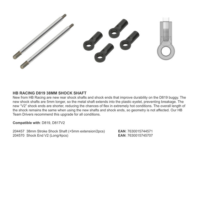 HB RACING D819 38MM SHOCK SHAFT