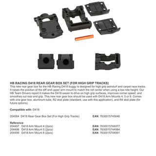 HB RACING D418 REAR GEAR BOX SET (FOR HIGH GRIP TRACKS)
