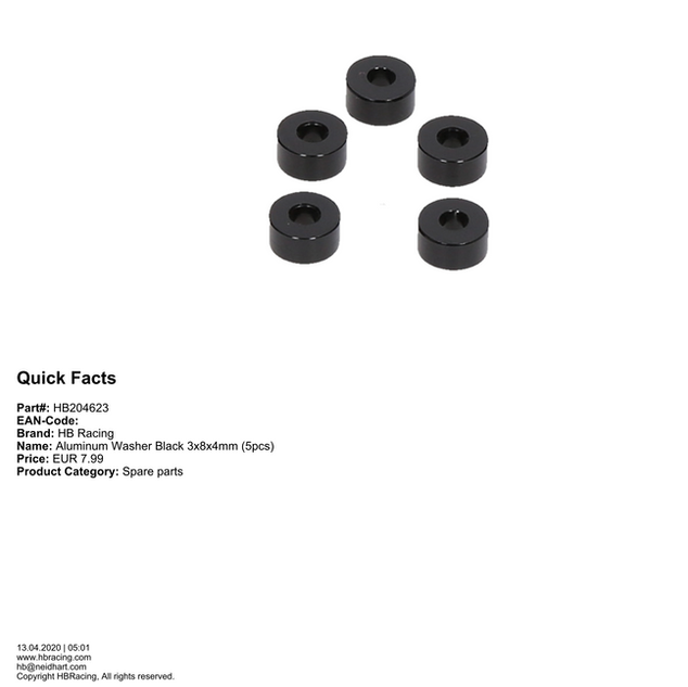HB204623 - Aluminum Washer Black 3x8x4mm (5pcs)