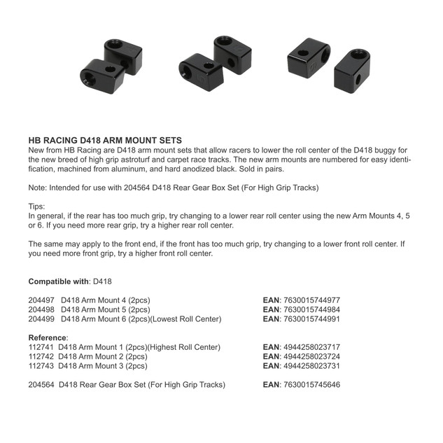 HB RACING D418 ARM MOUNT SETS