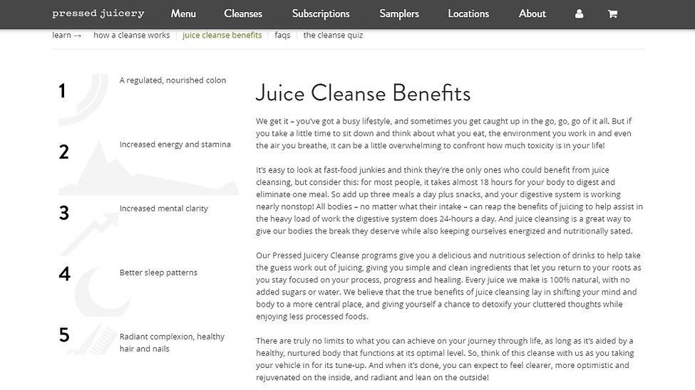 Pressed Juicery - Juice Cleanse Benefits