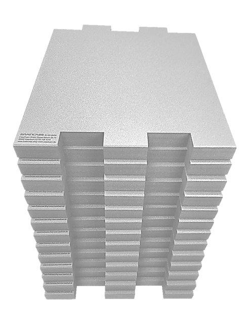 12 Tischtrennwände BRAINCASE Small 610x495x45mm in hellgrau aus PE-Hartschaum