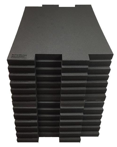 12 Tischtrennwände BRAINCASE Medium  690x590x45mm in schwarz aus PE-Hartschaum