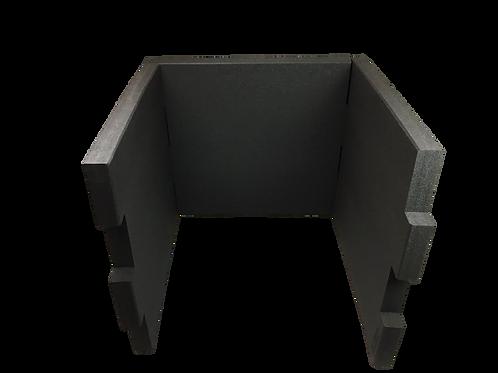 3 Tischtrennwände BRAINCASE Medium 690x590x45mm in schwarz aus PE-Hartschaum