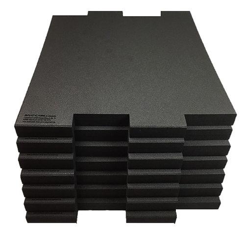 6 Tischtrennwände  BRAINCASE Medium  690x590x45mm in schwarz aus PE-Hartschaum6