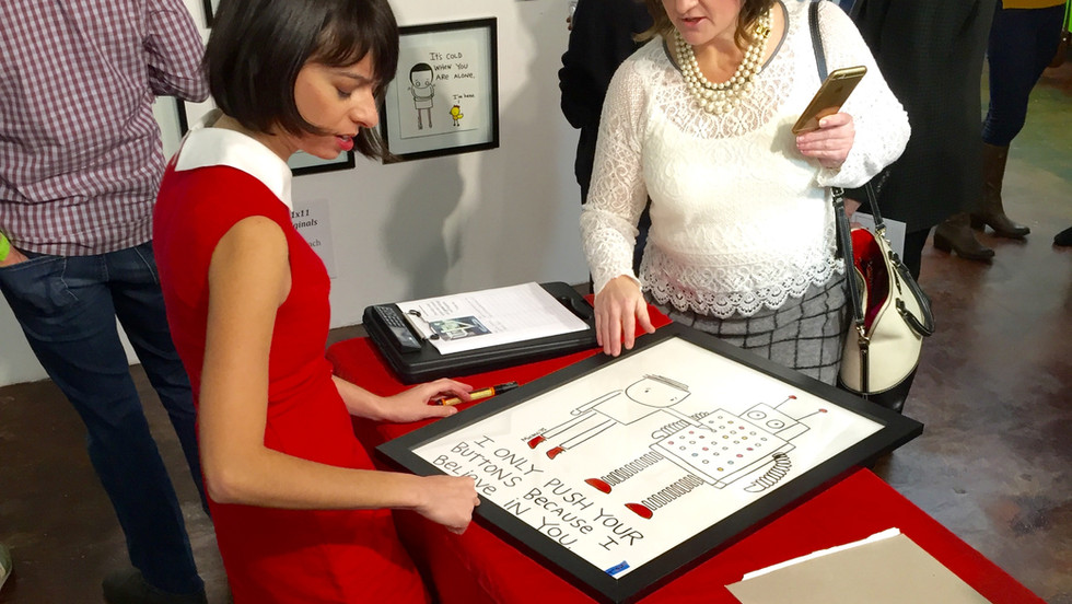 Kate Micucci Art Show Signing Each Origina Drawing at Brad Oldham Sculpture.jpg