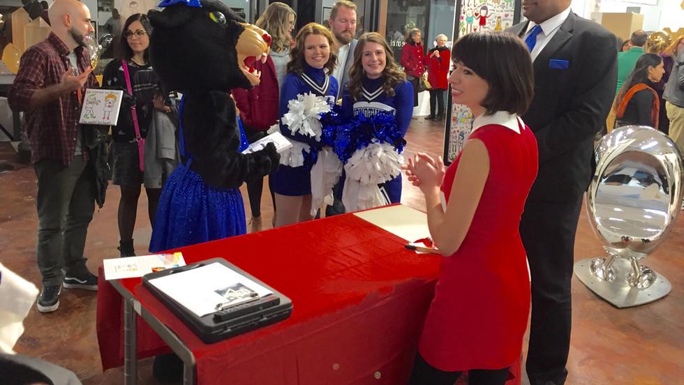 Kate Micucci Signing Artwork Cheerleader Home Sweet Dog.jpg