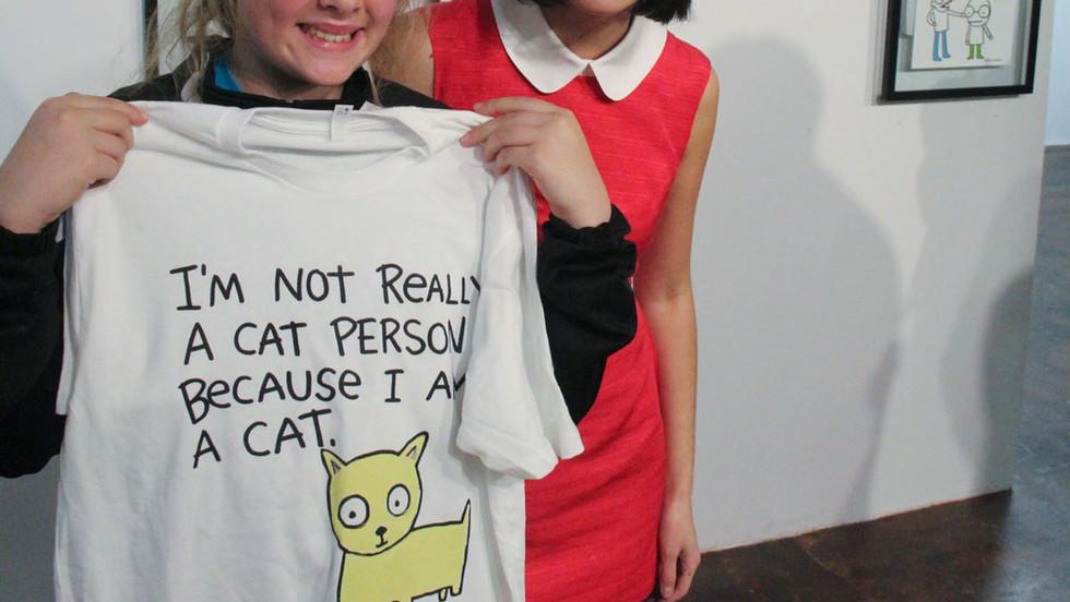 Kate Micucci Art Show Brad Oldham Sculpture T Shirt buyer with Artist.jpg