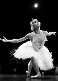 """Diana Vishneva performs the """"Dying Swan"""" on the stage of the Opera Monte-Carlo."""