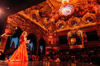 Natalia Vodianova on the stage of the Opera Monte-Carlo.