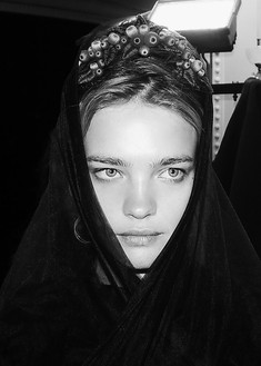 Natalia Vodianova opens the first show of Ulyana Sergeenko in Paris.