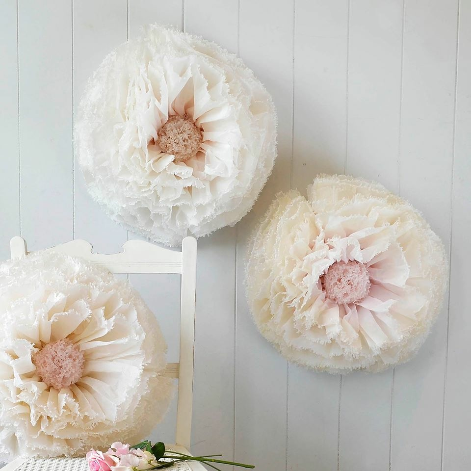 Ivory, blush and nude pom peonies