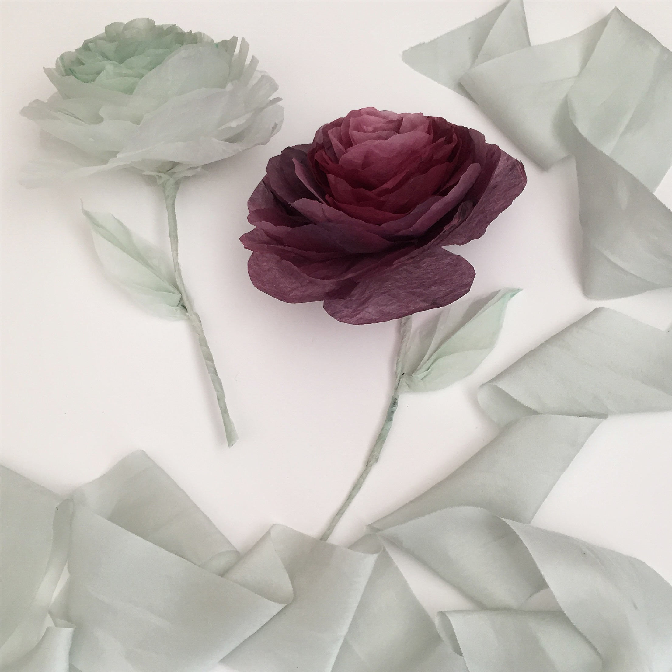 Hand-dyed paper Roses
