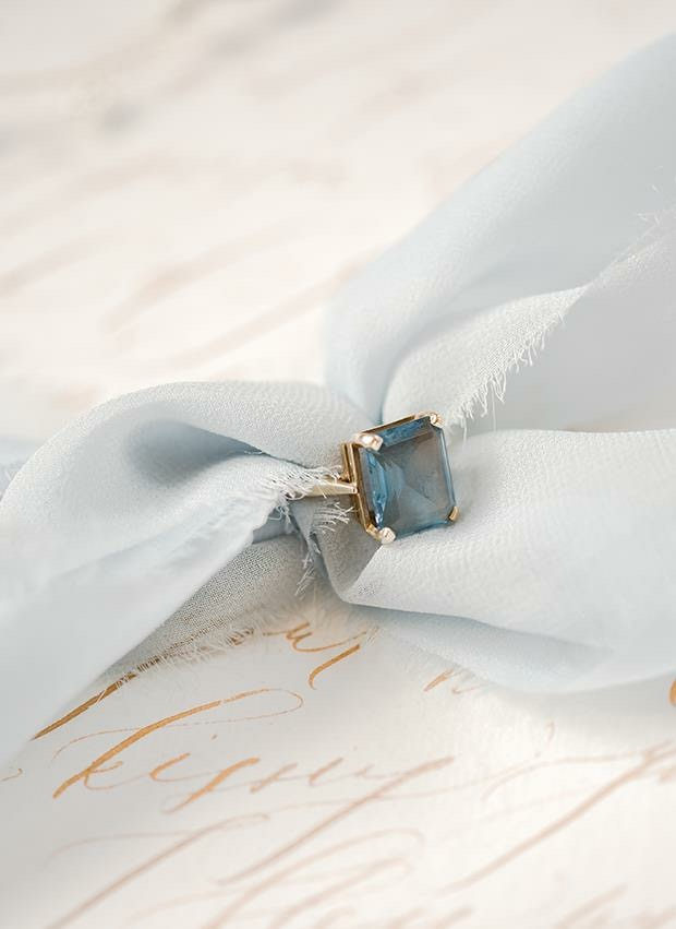 Dusty blue silk chiffon ribbon