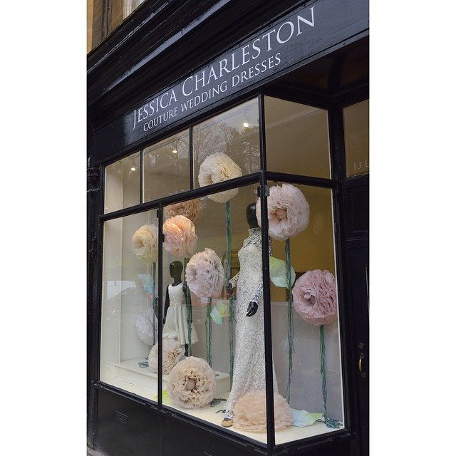 Giant hand-dyed peonies with beautiful couture @JessicaCharleston br