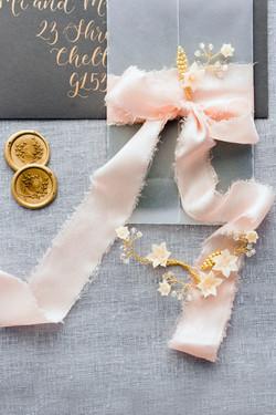 Blush silk chiffon ribbon