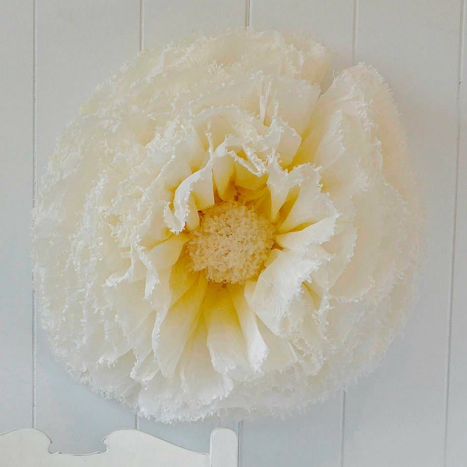Yellow and ivory pom peony