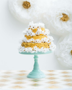 Gold and White Giant paper Flowers