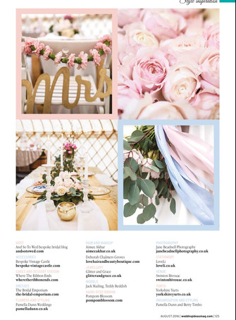 Wedding Ideas Magazine-August 2016 - Rose Quartz and Serenity inspired editorial with Jane Beadnell