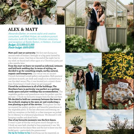 Real Wedding -Alex and Matt- Wedding Flowers & Accessories Magazine -July/August 2017