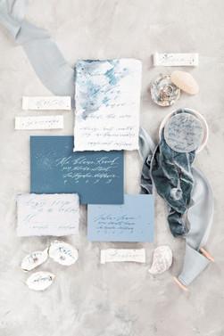 Dusky blue silk velvet ribbon