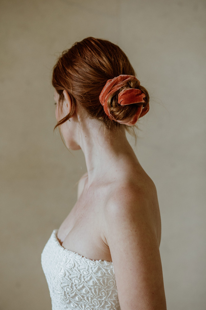 Burnt orange silk velvet ribbon