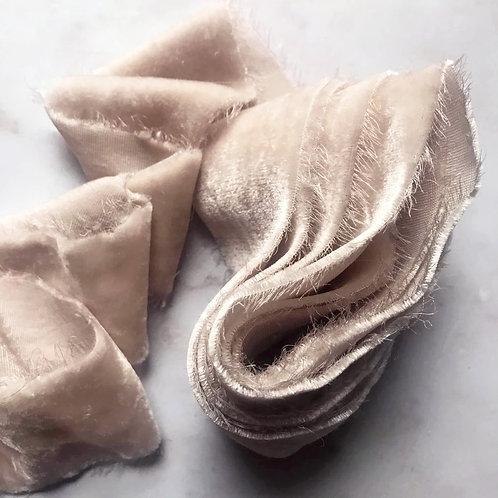 Oyster silk velvet ribbon