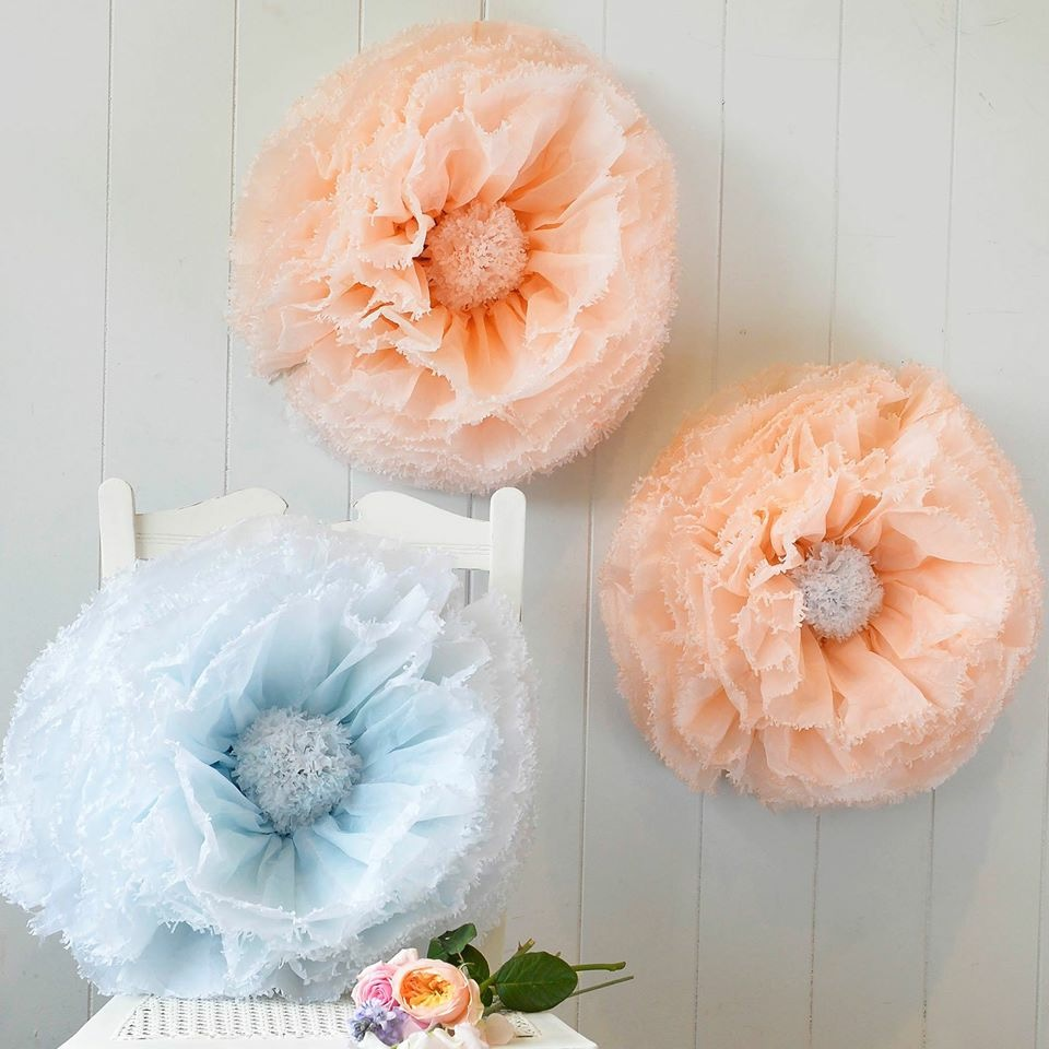 Blue and peach paper flowers
