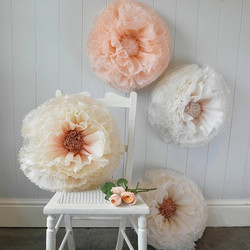 Instagram - Copper, peach, nude and Ivory giant hand-dyed Pompom blossom for @no