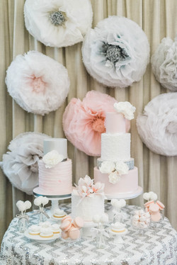 Blush and Silver paper flowers