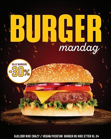 Burger mandag 30%
