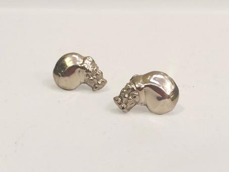 Sterling Silver Hippo Earrings