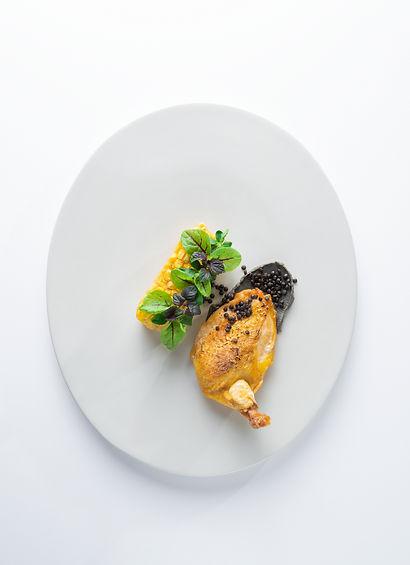 corn fed chicken breast with black lenti