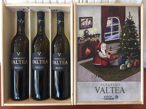 Estuche Madera 3 Botellas Albariño Valtea